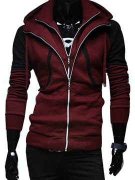 Patchwork Long Sleeve Zip Front Mens Hoodie