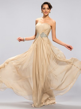 A Line Sweetheart Beading Pleats Long Prom Dress Designed