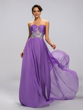Eye Catching A Line Sweetheart Empire Waistline Beading Long Prom Dress Designed