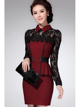 Lace Patchwork Doll Collar Long Sleeve Dress