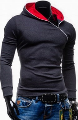 Men Contrast Color Long Sleeve Hoodie