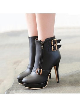 Solid Color Metal Buckle Stiletto Heel Short Boots