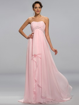 Modern Empire Waistline Strapless Ruched Beaded Long Prom Dress