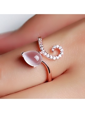 Delicate Natural Opal 925 Sterling Silver Rose Gold Plated Womens Ring
