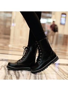 Solid Color Lace Up Round Toe Martin Boots