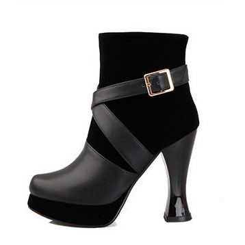 Black Patchwork Round Toe Short Boots
