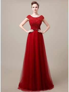 Elegant Scoop Neckline Pearlsowknot Lace Floor Length Evening Dress