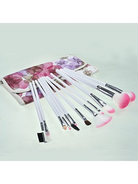 12pcs Nylon Fiber Cosmetic Brush Set In Floral Bag