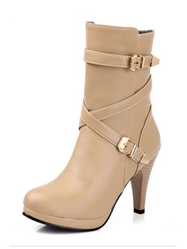 Round Toe Platform Metal Buckle Short Boots