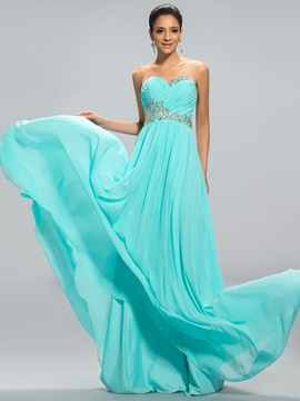 Sweetheart A Line Beading Long Prom Dress Designed
