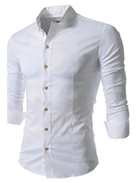 Stand Collar Single Breasted Long Sleeve Shirt