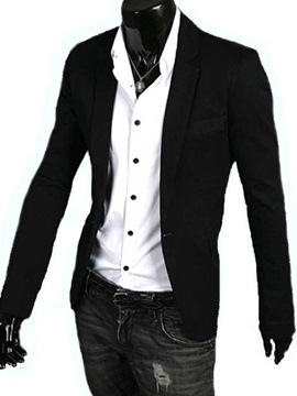 Lapel One Button Long Sleeve Jacket