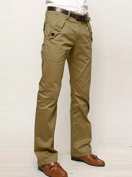 Mens Mid Waist Cotton Casual Pants