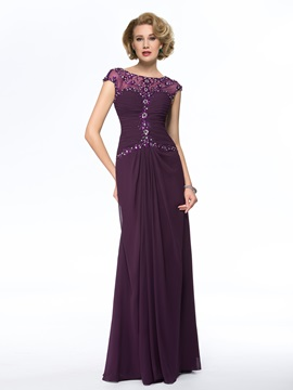 Elegant Bateau Neck Short Sleeve Chiffon Long Mother Of The Bride Dress