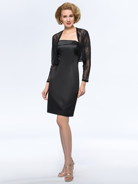 Strapless Sheath Column Short Black Mother Of The Bride Dress With Jacket Shawl