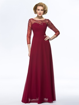 Bateau Neck Beaded Chiffon Long Mother Dress With Sleeves