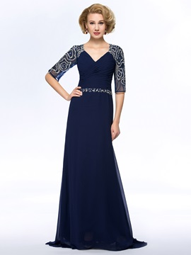 Vogue Beaded V Neck Ruched Chiffon Blue Long Mother Of The Bride Dress With Sleeves