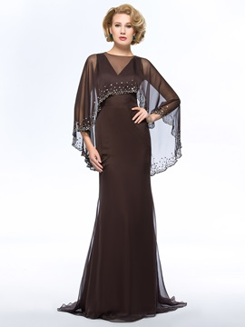 V Neck Floor Length Sweep Train Plus Size Mother Of The Bride Dress With Jacket Shawl