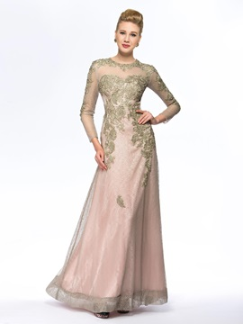 See Through Beaded Long Lace Mother Of The Bride Dress With Sleeves