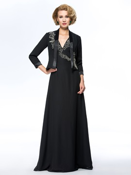 V Neck Beaded Black Long Plus Size Mother Of The Bride Dress With Jacket Shawl
