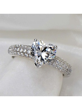 Delicate Heart Shaped 12 Ct Diamond 925 Sterling Silver Platinum Plated Engagement Wedding Ring