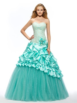 Sweetheart Embroidery Flower Tiered Lace Up Long Ball Gown Quinceanera Dress