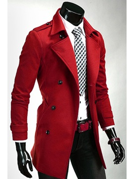 Lapel Double Breasted Slim Long Sleeve Overcoat