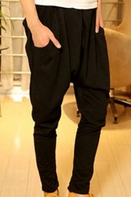 Mid Waist Casual Cotton Harem Pants