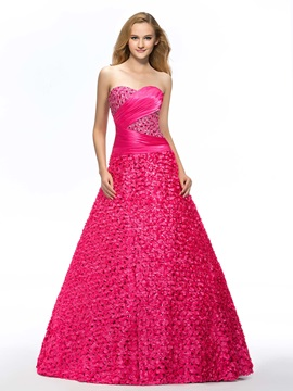 Sweetheart A Line Flowers Beading Floor Length Quinceanera Dress