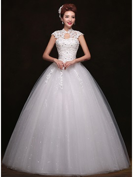 Trendy Lace High Neck Floor Length Ball Gown White Wedding Dress