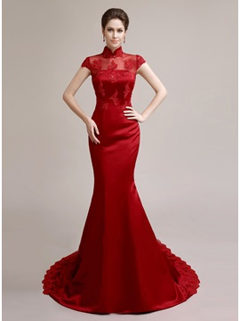 Vintage Mermaid High Neck Short Sleeves Appliques Long Evening Dress