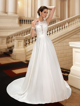 Zip Up Button Beaded Jewel Neck A Line Floor Length Wedding Dress