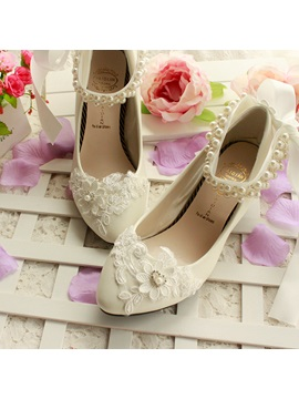 Lace Applique Pearl Ankle Strap Wedding Shoes
