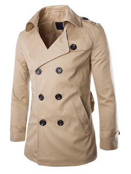 Lapel Double Breasted Long Sleeve Overcoat