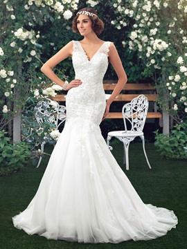 Appliques Beaded V Neck Mermaid Wedding Dress