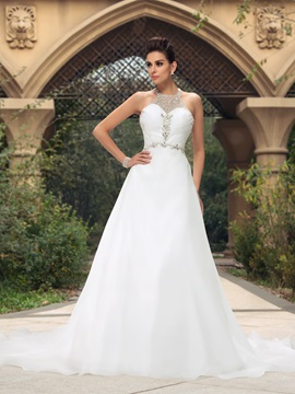 Dazzling Beaded Halter A Line Court Train Wedding Dress