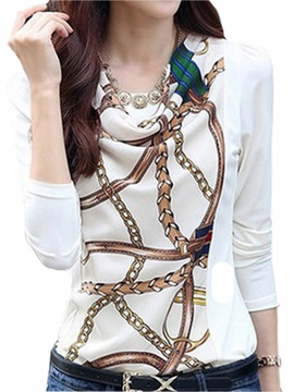 Chain Pattern Long Sleeve Chiffon T Shirt