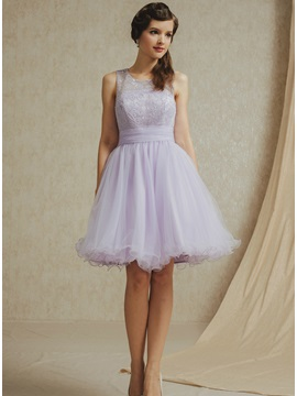 A Line Jewel Short Bridesmaid Dress