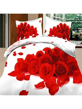 Romantic Red Roses 4 Piece 3d Bedding Sets