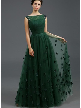 Stunning Bateau Neckline Beading Flowers A Line Long Evening Dress
