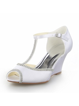 Satin Beaded Wedge Heel Bridal Sandals