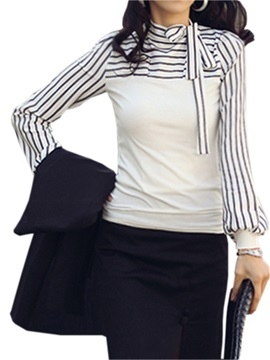 Stylish Stand Collar With Bow Knot Strips Sleeve Blouse