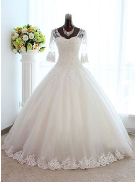 Vintage Floor Length Long Sleeve Lace Wedding Dress