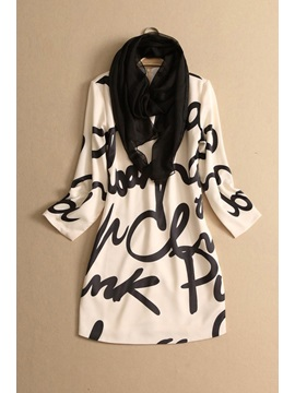 Print Three Quater Sleeve Casual Dress