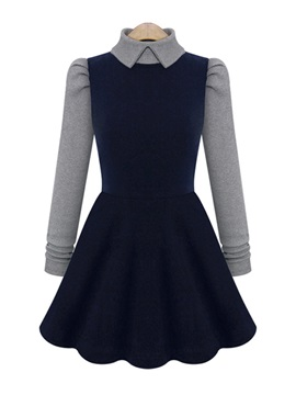 Dark Blue Doll Collar Pleated Dress