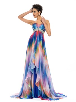 Sweetheart A Line Beading Floral Printed Long Prom Dress