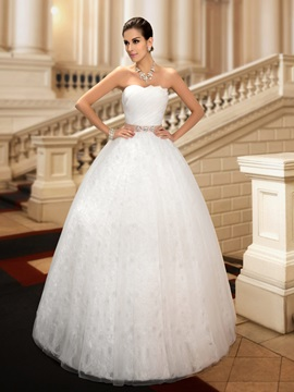Dazzling Beaded Strapless Floor Length Ball Gown Lace Wedding Dress