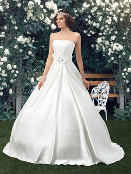 Simple Style Classic Strapless Floor Length A Line Satin Wedding Dress