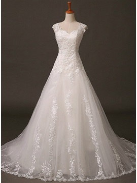 Dazzling Sheer Back Sweetheart Lace Appliques A Line Ivory Wedding Dress