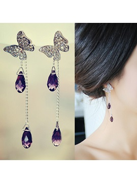 Classy Starry Crystal Butterfly With Amethyst Tassels Women Earrings